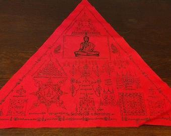 Old powerful protection yantra talisman Wat prachairungsee Thai Buddha amulet