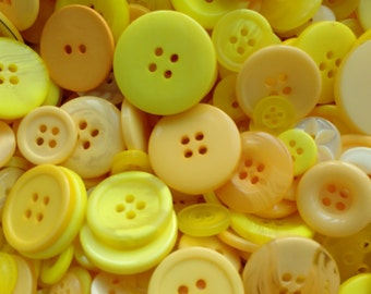 Mixed Yellow buttons, assorted sizes FREE postage