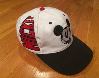 Vintage Mickey Mouse hat white black strapback