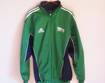 VINTAGE ADIDAS 3 Stripes Green and Navy Blue Tracksuit Top / Track Jacket Football / Soccer Club - Size M