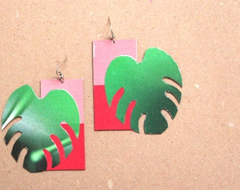 "Paper earrings ""Oyapock"" - Earrings tropical leaves"