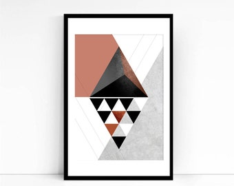 Mid-Century Modern geometric triangle abstract textured art poster