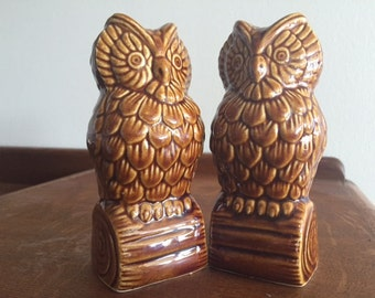 Vintage Ceramic Owl Figurines- 1 Set of 2