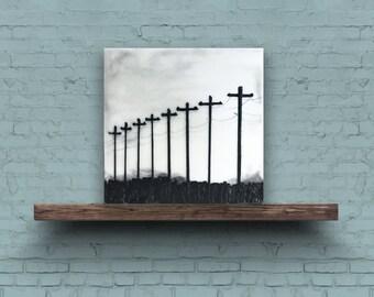 ROW of TELEPHONE POLES - Original Encaustic Painting Black & White, 6x6in