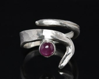 Unique ring with ruby -- Design 925 Sterling Silver ring -- 100% handmade