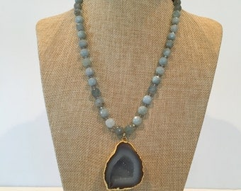 Aquamarine and geode necklace