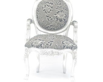 Silver Accent Chair | Silver Dining Chair | Silver Occasional Chair | Floral Chair