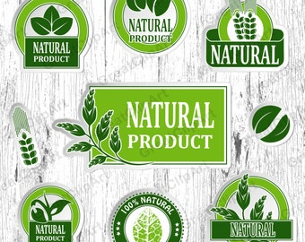 16 Eco product clipart, organic labels, eco friendly, fresh organic clip, farm fresh labels, 100% natural, go green labels, reduce recycle