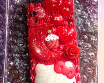 Red Hello Kitty Decoden Case for iPhone 5/5s & iPhone SE