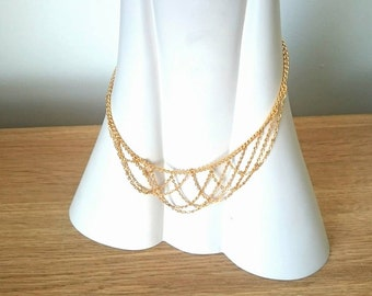 Gold Necklace Vintage Chain Necklace 1960's Retro necklac hook clasp Bib Necklace Wedding Necklace Costume Jewellery