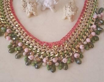 Bib necklace india Green