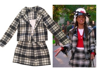SALE Dionne's Clueless Outfit Black white Tartan Plaid Fancy Dress Adult Costume skate skirt woman costume halloween