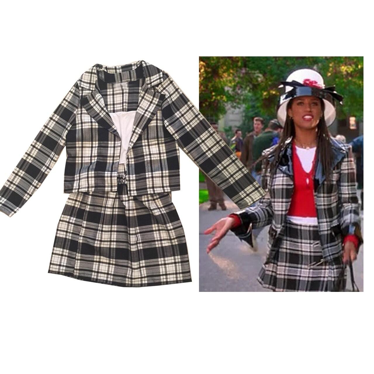 SALE Dionneu0026#39;s Clueless Outfit Black white Tartan Plaid
