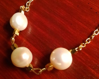 Natural Freshwater Pearl Minimalist Necklace on Gold Colored Chain