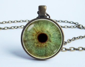 Green eye necklace Eye pendant Eye jewelry Glass eyeball Realistic pendant Eyeball necklace Human eyeball Green eye Eye necklace Gift idea