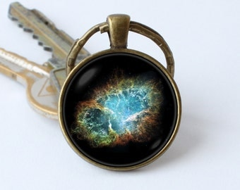 Nebula key ring Nebula Crab keychain Galaxy jewelry Space gift Astronomy keyring Galaxy pendant Nebula key chain Space keychain Gift ideas