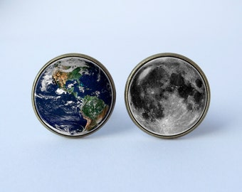 Earth and moon cufflinks Planet cufflinks Cosmos jewelry Solar system cuff links Astronomy cufflinks Gift for husband Universe jewelry Space