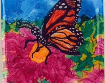 Ceramic Tile Magnet - Monarch Butterfly
