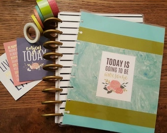 Custom Teal and Olive Happy Planner Cover
