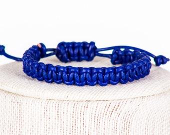 Blue Leather Macrame Bracelet