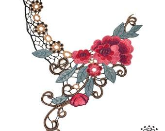 Floral embroidered applique - Neck collar