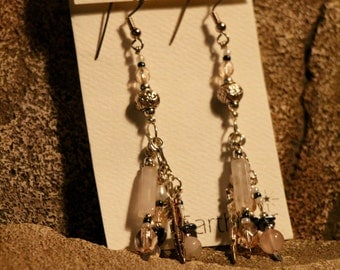 Sterling Silver Rose Quartz earrings by Earth Star.