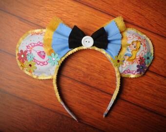 Disney Inspired Alice in Wonderland Flower Mouse Ears