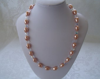 "Swarovski® Pear Pearl Necklace - Rose Gold Pearls - 18"" Pearl Necklace - Pear Shaped Pearls - Pearl Wedding - Custom Colors Available!"