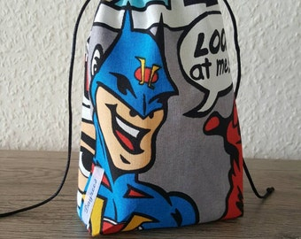 Comic style drawstring pouch