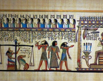 """Egyptian Papyrus HandMade Painting,size 100x200cm (40""""x80"""") Judgement Day"""