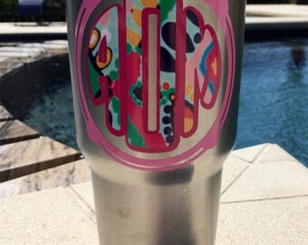Lilly Pulitzer inspired monogram, yeti decal for women, rtic cup decal, laptop and car window sticker