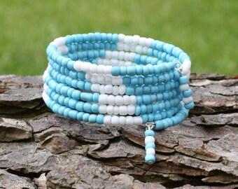 Ladies Bracelets - Six Times Wrap Bracelets - Turquoise - Memory Wire Bangle - Beaded Memory Wire -