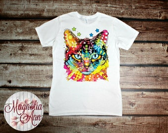 Colorful Neon Cat Graphic Women's T-shirt in White, Gray and Black in Sizes Small-4X