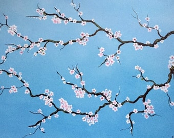 Cherry Blossom - Contemporary acrylic painting on stretched canvas - blue, white, pink