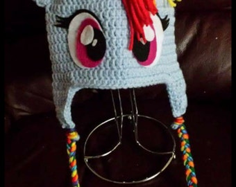 Rainbow Dash Crochet beanie, Crochet Hat with Earflaps, Rainbow Dash Costume or Photography Prop, Crochet hat for Infant to Adult