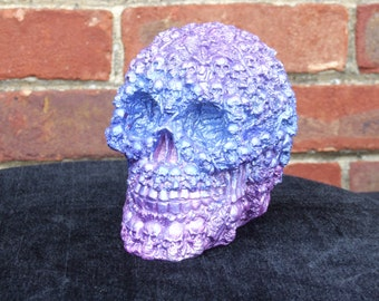 Hand Painted Sky Blue and Lillac Skulls on Skull