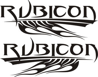 Jeep Rubicon Tribal Flames Sticker Set Multiple Sizes & Colors