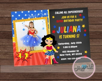 Wonder Woman Party Invitation, Wonder Woman Invitation with Photo, Wonder Woman Birthday Invitation, WW Party Invitation, Digital File.
