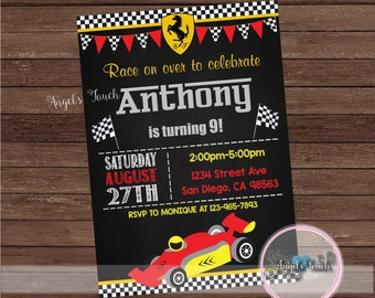 Race Car Party Invitation, Race Car Birthday Invitation, Red Race Car Birthday Party Invitation, Car Invitation, Digital File.