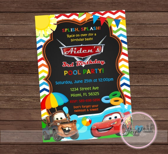 cars pool party invitation disney cars birthday invitation, Birthday invitations