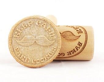 STODOLA Keep Calm Bake Cookies - Mini rolling pin for cookies, embossing roller