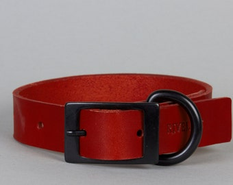 Red Leather Dog Collar with Black Metal Trim (M, L, XL)