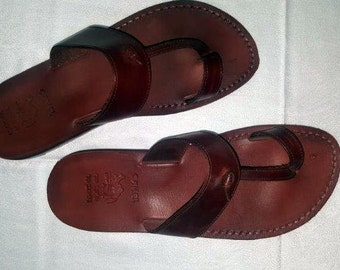 Jesus sandals for men , made from genuine leather ,made in Jerusalem . unique vintage sandals easy wear to slip on , brown color sandals .