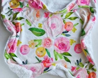 Watercolor Summer Rose Baby Blanket, Minky Baby Blanket, Faux Fur Baby Blanket, Rose Baby Blanket, Floral Baby Blanket, Girl Baby Blanket