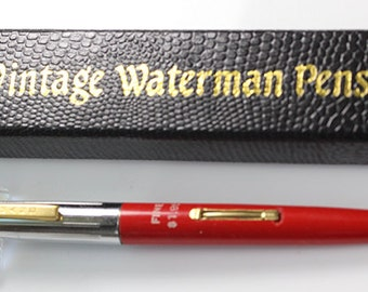Waterman Fountain Pen Waterman Red Mint Made in Canada Steel (f) Nib Chrome Cap and Trim w18060 Vintage Fountain Pen Vintage Waterman Pen