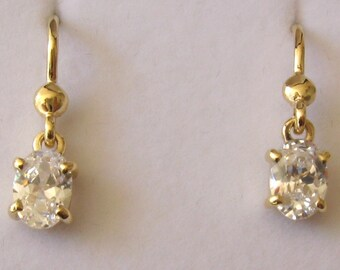 Genuine SOLID 9K 9ct YELLOW GOLD April Birthstone Cubic Zirconia Cz Earrings