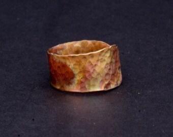 Copper wraparound hammered ring