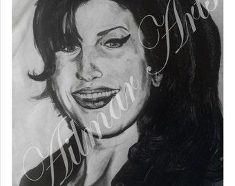 Amy Winehaouse, portrait, Graphite, Pencil