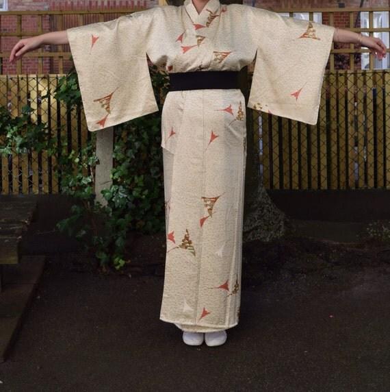 Vintage kimono synthetiq light yellow EV47