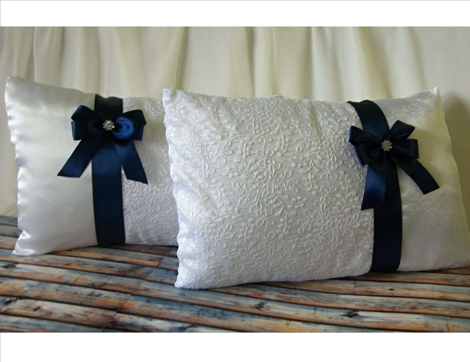 Set Of 2 Wedding Kneeling Pillows With Navy Blue Bow White